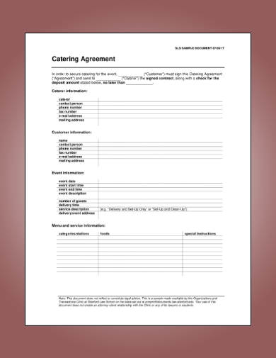 event catering agreement