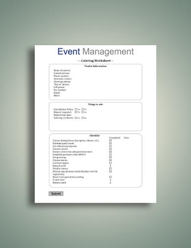 event management catering worksheet