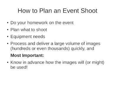 event photography shoot plan