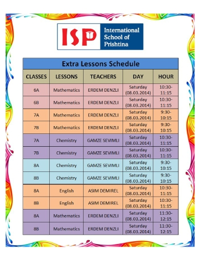 extra lesson schedule
