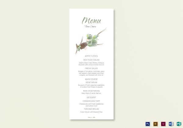 fall wedding menu card