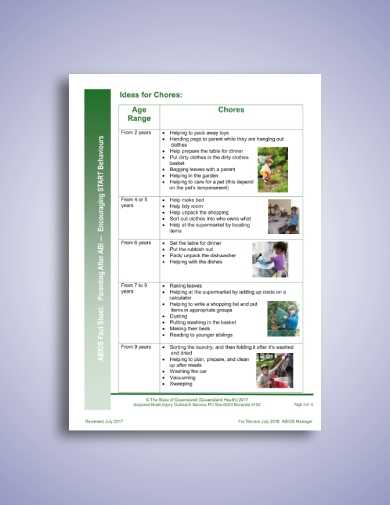 family fact sheet and chore schedule