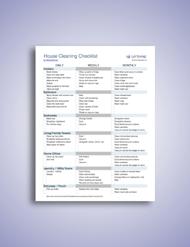 family house cleaning checklist and chore schedule