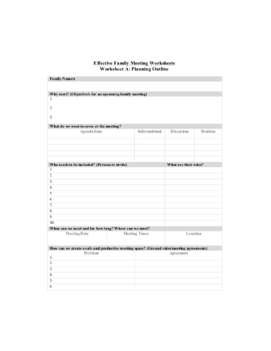 family meeting agenda worksheet