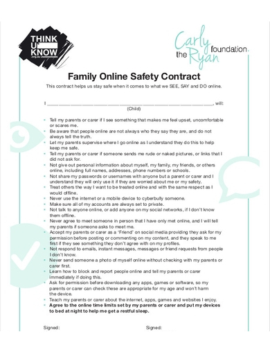 family online safety contract