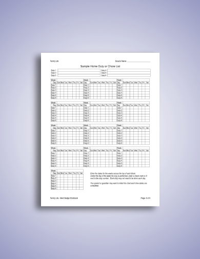 Family Workbook And C Schedule