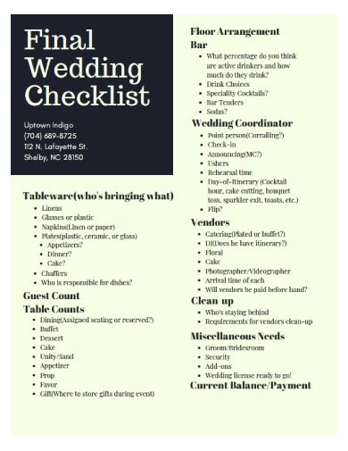 final wedding checklist