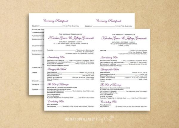 flat catholic wedding program
