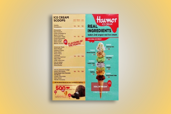 flavorful ice cream menu