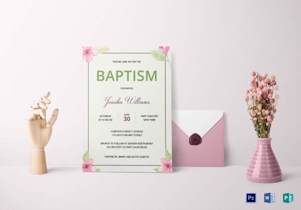 floral baptism invitation card