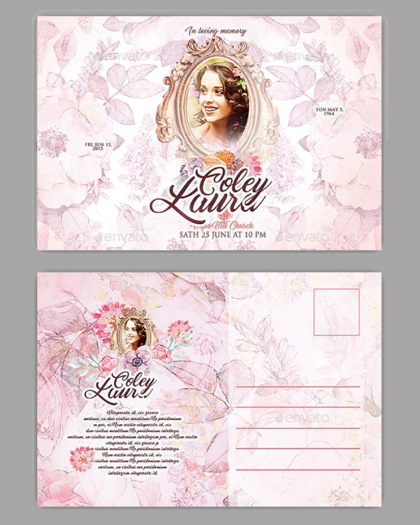 floral funeral postcard