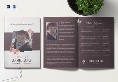 floral funeral program brochure