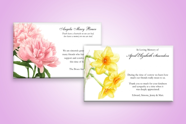 floral funeral sympathy thank you card