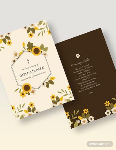 floral memorial card