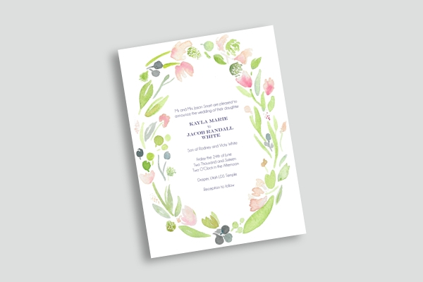 floral watercolor wedding announcement