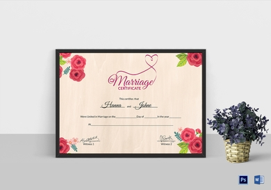 floral wedding certificate