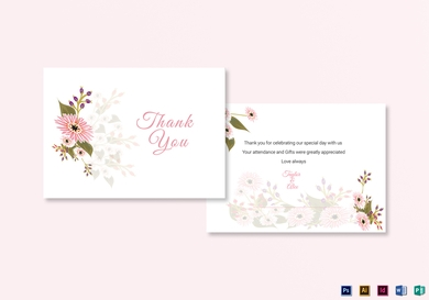floral wedding thank you card