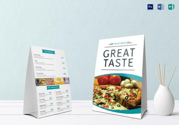 food table tent menu