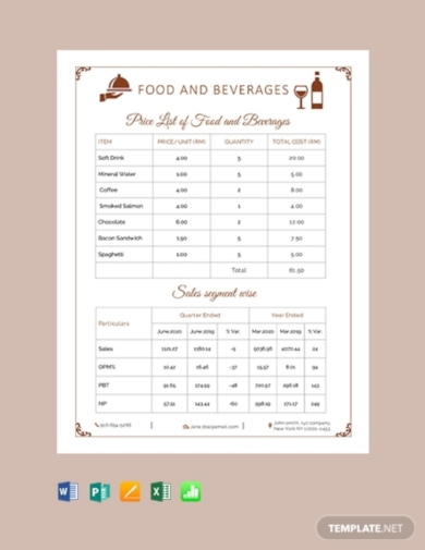 food and beverage price list