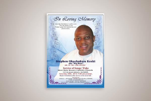 football player obituary flyer