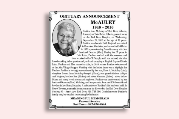 formal obituary announcement