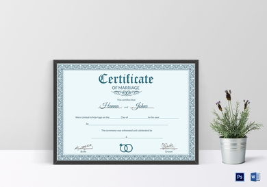 formal wedding certificate