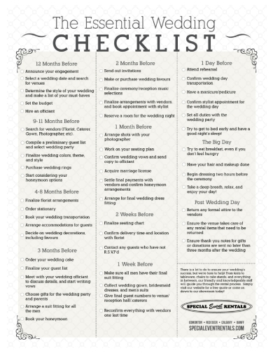 formal wedding checklist