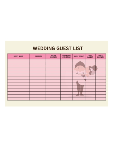 formal wedding guest list