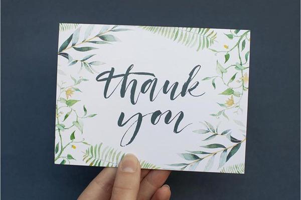 formal wedding thank you card