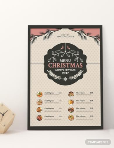 free christmas holiday menu