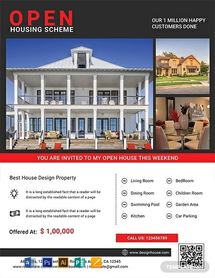 free luxury open house flyer template