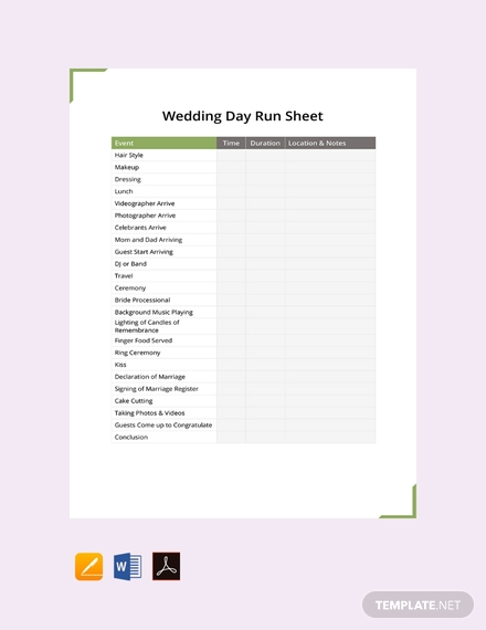 free wedding day run sheet