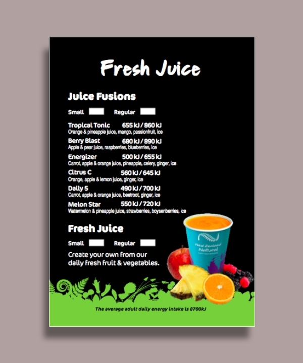 fresh juice drink menu