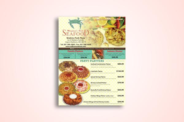 fresh seafood menu