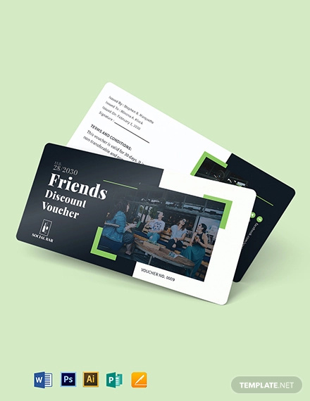 friends discount voucher template