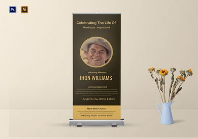 funeral announcement roll up banner