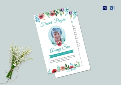 funeral family prayer card