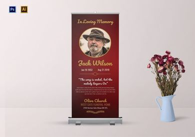 funeral invitation roll up banner
