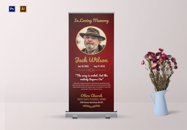 funeral invitation roll up banner1