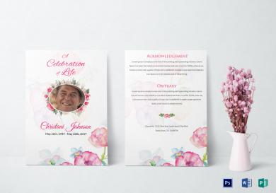 funeral obituary invitation card