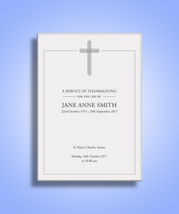 funeral order of service for thanksgiving
