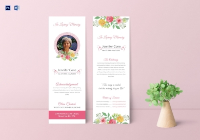 funeral service bookmark