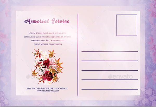 funeral and memorial service postcard
