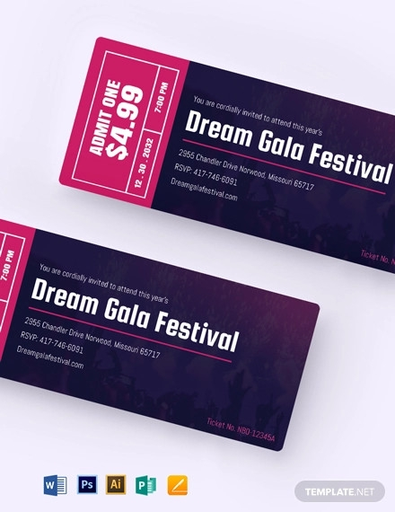 gala festival event ticket template