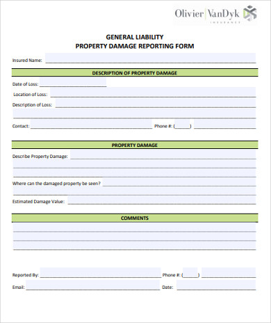 general liability property damage report