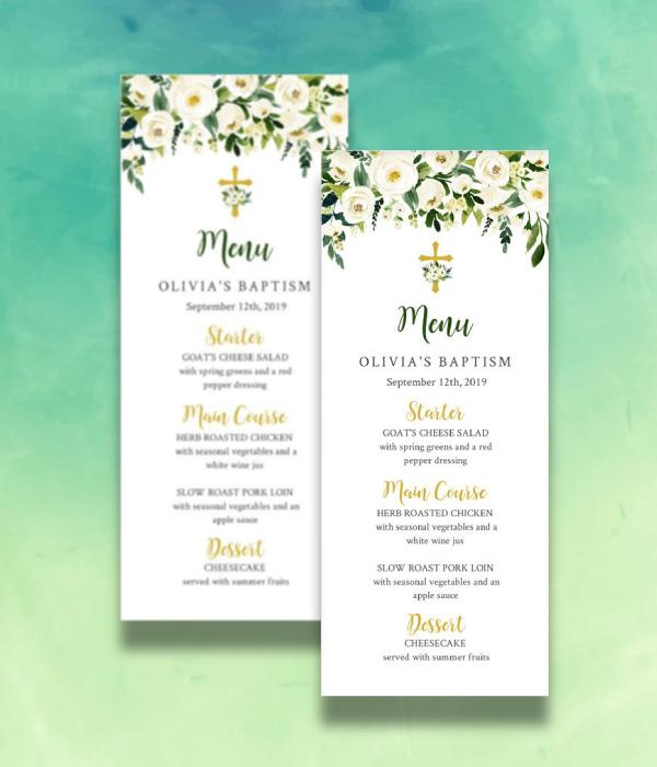 gold floral baptism menu