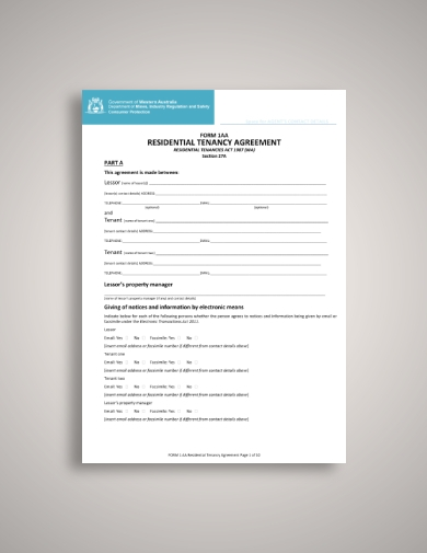 government of western australia tenant lease agreement