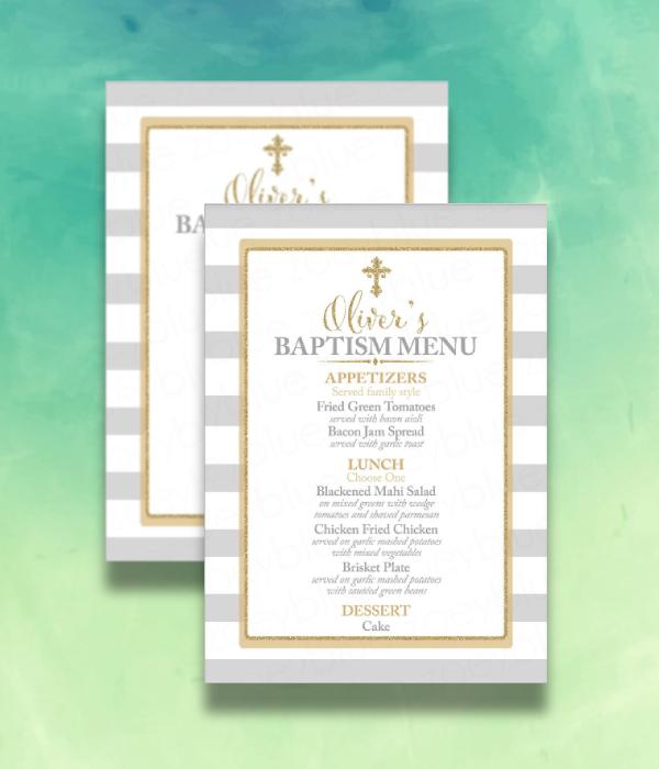 gray and gold baptism menu
