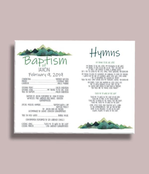 green mountains baptism program