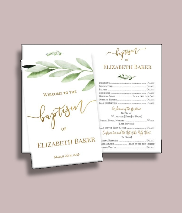 greenery baptism program